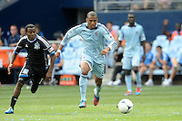 Kansas City forward Teal Bunbury (9) in action... Sporting Kansas City defetaed San Jose Earthquakes 2-1 at LIVESTRONG Sporting Park, Kansas City, Kansas.