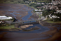 A bridge over Loughor Estuary near Gorseinon, west Wales.<br />