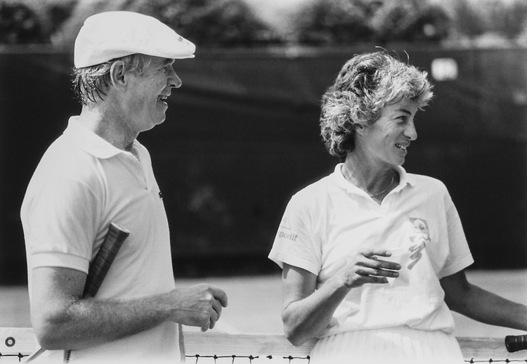 Sen. Thad Cochran, R-Miss., (partner Dorgan) and Virginia Wade, Tennis Player (bits won the match) on May 25, 1989. (Photo by Laura Patterson/CQ Roll Call via Getty Images)