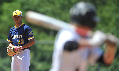 Brian Morrell #23, Shoreham-Wading River pitcher, faces a batter during the Class A varsity baseball Long Island Championship against Wantagh at SUNY Old Westbury on Saturday, June 3, 2017.