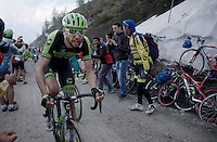 Ryder Hesjedal (CAN/Cannondale-Garmin) again going strong up the dirt roads of the Colle delle Finestre (2178m)<br /> <br /> Giro d'Italia 2015<br /> stage 20: Saint Vincent - Sestriere (199km)