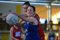 Wairarapa Netball premier club final between Harcourts (blue) and Carterton at Columbo Road Sports Centre in Masterton, New Zealand on Saturday, 1 September 2018. Photo: Dave Lintott / lintottphoto.co.nz