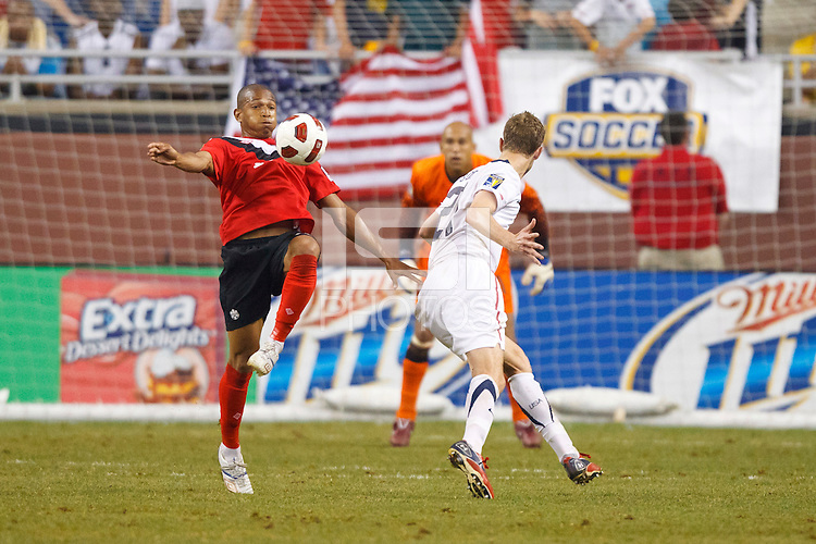 7 June 2011: Canada forward Simeon Jackson (17), USA Men's National Team goalkeeper Tim Howard (1)  and defender Clarence Goodson (21) during the CONCACAF soccer match between USA and Canada at Ford Field Detroit, Michigan. USA won 2-0.