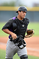 Colorado Rockies catcher Chris Rabago (80) during an Instructional League game against the Arizona Diamondbacks on October 8, 2014 at Salt River Fields at Talking Stick in Scottsdale, Arizona.  (Mike Janes/Four Seam Images)