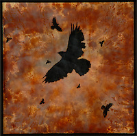 Crows in orange sunset sky mixed media encaustic photo transfer by Jeff League.