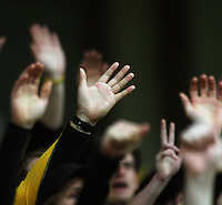Phoenix fans raise their hands during the A-League football match between Wellington Phoenix and Perth Glory at Westpac Stadium, Wellington, New Zealand on Sunday, 16 August 2009. Photo: Dave Lintott / lintottphoto.co.nz