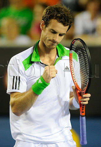 20.01.2011 Australian Open Tennis from Melbourne Park. Andy Murray of Great Britain reacts after winning a point in his match against Illya Marchenko of Ukraine on day four of the 2011 Australian Open at Melbourne Park, Melbourne, Australia.