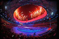 Aug. 8, 2008; Beijing, CHINA; Fireworks explode overheade during the opening ceremonies for the 2008 Beijing Olympic Games at the National Stadium. Mandatory Credit: Mark J. Rebilas-