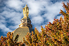 October 11, 2016; The statue of Mary atop the Golden Dome on the Main Building. (Photo by Barbara Johnston/University of Notre Dame)