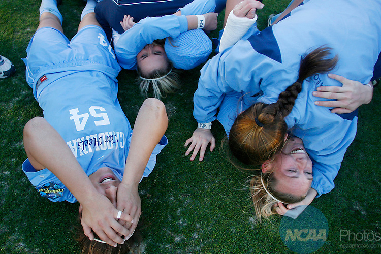 07 DEC 2008:  The University of North Carolina celebrates their victory over the University of Notre Dame during the Division I Women's Soccer Championship held at the WakeMed Soccer Park in Cary, NC.  North Carolina defeated Notre Dame 2-1 for the national title.  Jamie Schwaberow/NCAA Photos