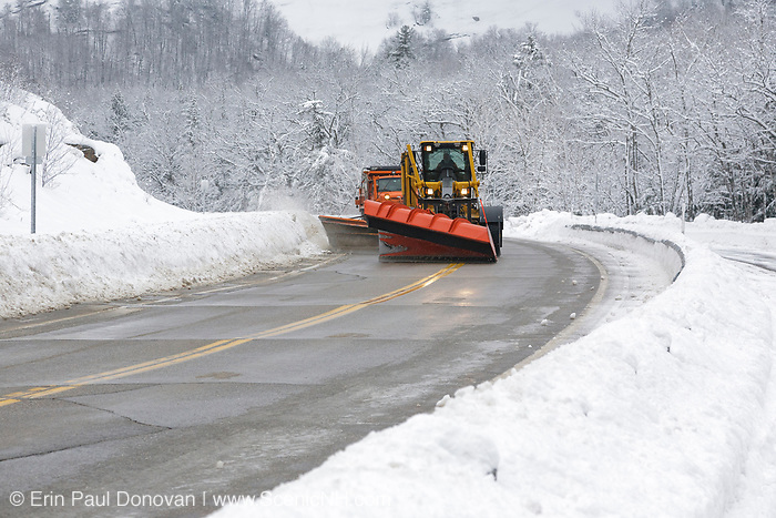 Snow removal after a snow storm along the Kancamagus Highway (route 112) in the White Mountains, New Hampshire.
