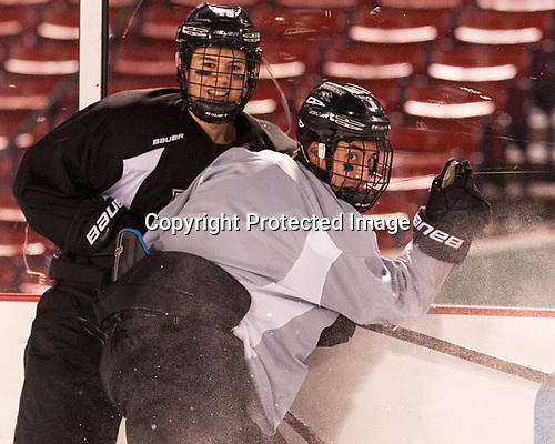 Jacob Bryson (PC - 18), Ryan Tait (PC - 8) - The Providence College Friars practiced at Fenway on Friday, January 6, 2017, in Boston, Massachusetts.