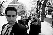Manchester, New Hampshire.January 6, 2008..Democratic presidential candidate Sen. Hillary Clinton (D-NY) and her daughter Chelsea Clinton (R) meet canvassers before walking through the neighborhood. Coming off a third place finish in the Iowa caucus Hillary Clinton is looking to rebound in the New Hampshire primary..
