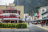 USA, Alaska, Juneau, outside of the Red Dog Saloon in downtown Juneau