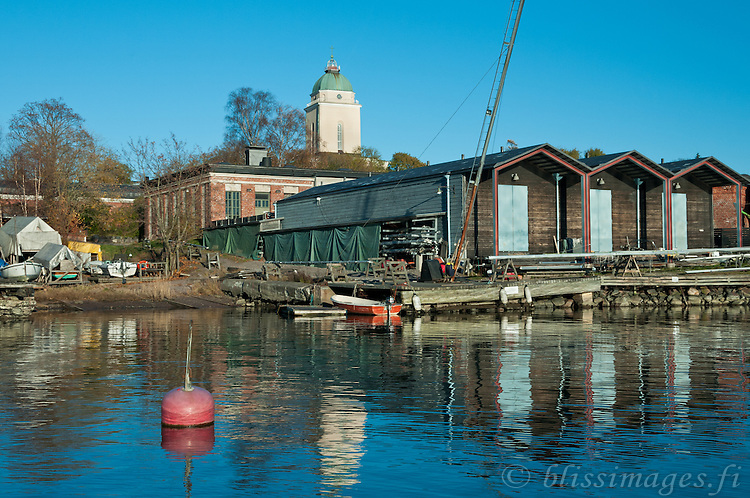 Autumn is almost over at the boat docks of Suomenlinna Island Fortress in Helsinki, Finland.