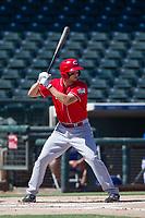 Cincinnati Reds first baseman Leonardo Seminati (61) at bat during an Instructional League game against the Kansas City Royals on October 2, 2017 at Surprise Stadium in Surprise, Arizona. (Zachary Lucy/Four Seam Images)
