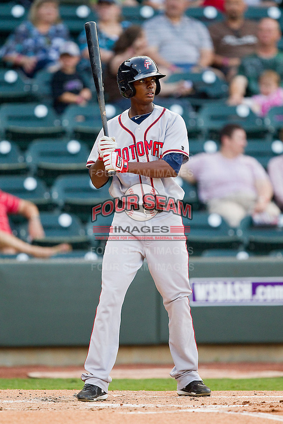 Michael Taylor #12 of the Potomac Nationals at bat against the Winston-Salem Dash at BB&T Ballpark on June 13, 2012 in Winston-Salem, North Carolina.  The Dash defeated the Nationals 5-3.  (Brian Westerholt/Four Seam Images)