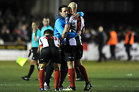 Chorley manager Matt Jansen dejected with his players at the end of the match during Chorley vs Fleetwood Town, Emirates FA Cup Football at Victory Park on 6th November 2017