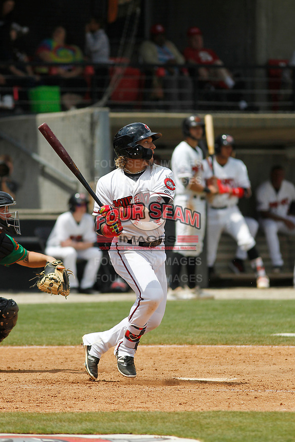 Carolina Mudcats infielder Isan Diaz (6)  at bat during a game against the Down East Wood Ducks on April 27, 2017 at Five County Stadium in Zebulon, North Carolina. Carolina defeated Down East 9-7. (Robert Gurganus/Four Seam Images)