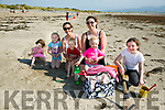 Enjoying the weather at Ballyheigue Beach on Monday were Aubrey Canty, Ella Casey, Maureen Canty, Braydon Canty, Siobhan Casey, Nessa Casey and Sarah O'Connell