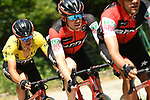 The peloton including race leader Richie Porte (AUS) and his BMC Team during Stage 7 of the Criterium du Dauphine 2017, running 168km from Aoste to Alpe d'Huez, France. 10th June 2017. <br /> Picture: ASO/A.Broadway | Cyclefile<br /> <br /> <br /> All photos usage must carry mandatory copyright credit (&copy; Cyclefile | ASO/A.Broadway)