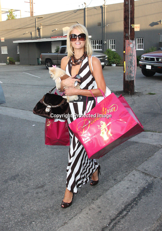 7-25-08.Paris Hilton Hilton shopping on Robertson blvd in Beverly hills with her dog. Paris bought cloths at a store called, Dianolina, Tory Burch & then Lisa Kline. ..www.AbilityFilms.com.805-427-3519.AbilityFilms@yahoo.com