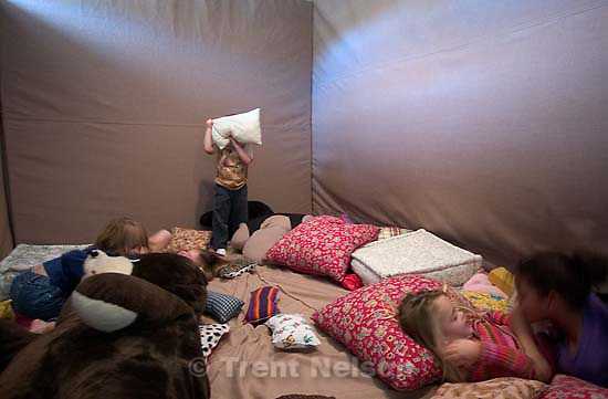The Sharing Place is a place children who have lost a parent or sibling can deal with their grief. In the padded &quot;Volcano Room,&quot; children are able to take out their anger on pillows, stuffed animals, and the mattresses on the wall.<br />