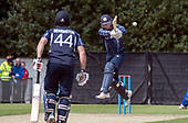 Cricket Scotland - Scotland V Namibia World Cricket League One-Day match today (Sun) at Grange CC - Scotland bat Craig Wallace gets high to send the ball to the boundary during his 29 run knock, here supporting Richie Berrington in his 110 run stand- this match is the first of two WCL games this week against Namibia on the same ground - picture by Donald MacLeod - 11.06.2017 - 07702 319 738 - clanmacleod@btinternet.com - www.donald-macleod.com