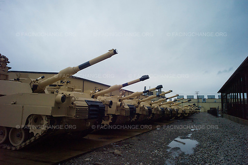 Lima, Ohio.March 2012..Completed Abrams tanks parked outside the factory buildings...The Joint Systems Manufacturing Center (US Army Tank Plant) which is the only heavy armored tank factory in the United States. They build and refurbish Abrams tanks, Stryker armored personnel carriers, and other weapons systems.