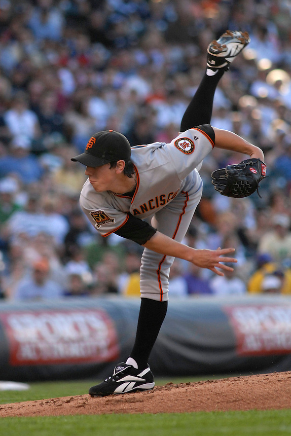 San Francisco Giants pitcher Tim Lincecum delivers a pitch against the Colorado Rockies. The Giants defeated the Rockies 6-5 at Coors Field in Denver, Colorado on May 20, 2008. FOR EDITORIAL USE ONLY. San Francisco Giants pitcher Tim Lincecum delivers a pitch against the Colorado Rockies on May 20, 2008.