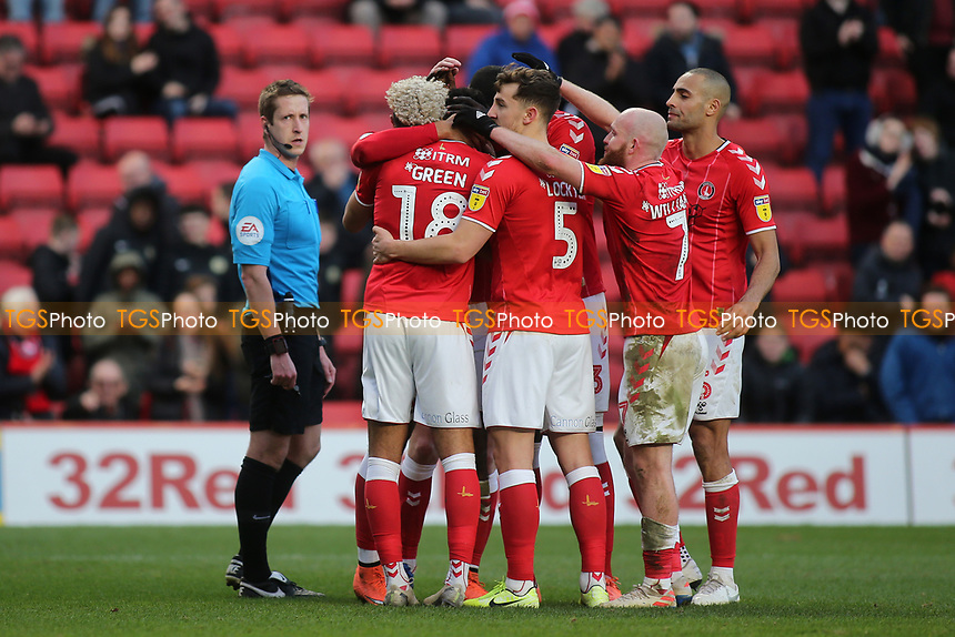 Charlton players congratulate Andre Green after scoring their second goal during Charlton Athletic vs Barnsley, Sky Bet EFL Championship Football at The Valley on 1st February 2020