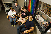 The North Carolina State GLBT Center is located in the Talley Student Center, from left to right, Tania Bembridge, Director Justine Hollingshead, Matt Woodwarel and Billy Gehling.