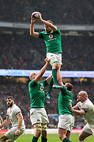 Jordi Murphy of Ireland wins the ball at a lineout. Natwest 6 Nations match between England and Ireland on March 17, 2018 at Twickenham Stadium in London, England. Photo by: Patrick Khachfe / Onside Images