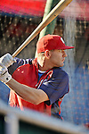 20 September 2012: Washington Nationals infielder Danny Espinosa takes batting practice prior to a game against the Los Angeles Dodgers at Nationals Park in Washington, DC. The Nationals defeated the Dodgers 4-1, clinching a playoff birth: the first time for a Washington franchise since 1933. Mandatory Credit: Ed Wolfstein Photo