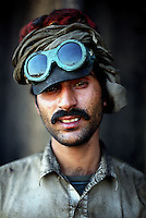 A worker at the Gaddani ship-breaking yard.