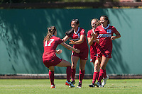 Stanford, CA - September 4, 2016:  Michelle Xiao Andi Sullivan during the Stanford vs Marquette Women's soccer match in Stanford, California.  The Cardinal defeated the Golden Eagles 3-0.