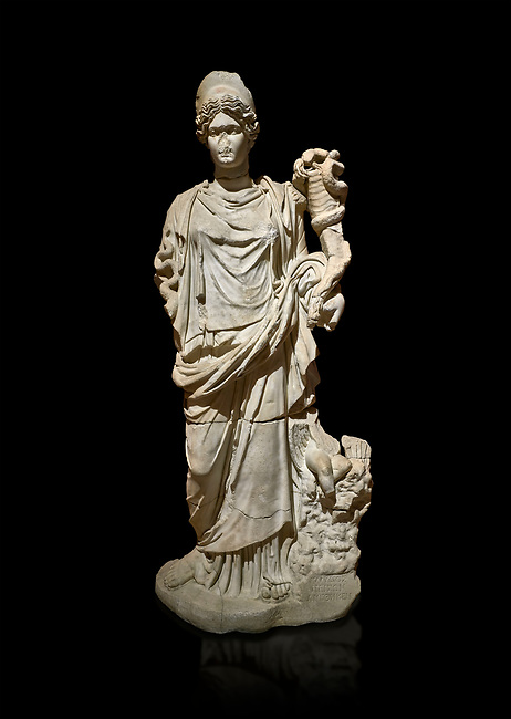 Roman statue of Hygieia. Marble. Perge. 2nd century AD. Inv no .Antalya Archaeology Museum; Turkey. Against a black background.<br /> <br />  Hygieia was one of the Aeclepiadae; the sons and daughters of the god of medicine; Asclepius; and the goddess of healing; Epione. She was the goddess of health; cleanliness and hygiene.