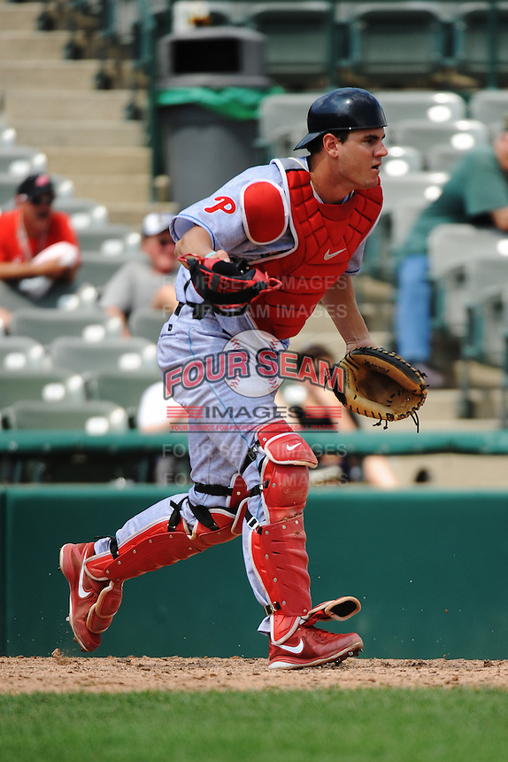 Reading Fightin Phils catcher Tommy Joseph (23) during game against the Trenton Thunder at ARM & HAMMER Park on July 8, 2013 in Trenton, NJ.  Trenton defeated Reading 10-6.  (Tomasso DeRosa/Four Seam Images)