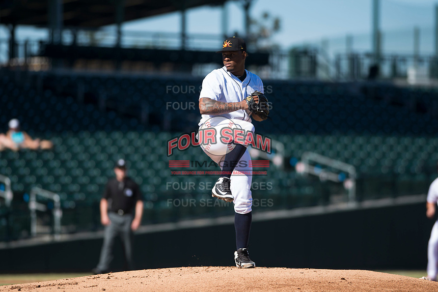 Mesa Solar Sox starting pitcher Gregory Soto (65), of the Detroit Tigers organization, delivers a pitch during an Arizona Fall League game against the Glendale Desert Dogs at Sloan Park on October 27, 2018 in Mesa, Arizona. Glendale defeated Mesa 7-6. (Zachary Lucy/Four Seam Images)