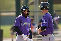 Colorado Rockies outfielder Stephen Cardullo (26) during a Minor League Spring Training game against the Chicago Cubs at Sloan Park on March 27, 2018 in Mesa, Arizona. (Zachary Lucy/Four Seam Images)