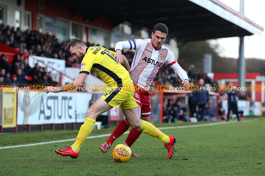 Ron Henry of Stevenage and Carl Winchester of Cheltenham Town during Stevenage vs Cheltenham Town, Sky Bet EFL League 2 Football at the Lamex Stadium on 1st January 2018