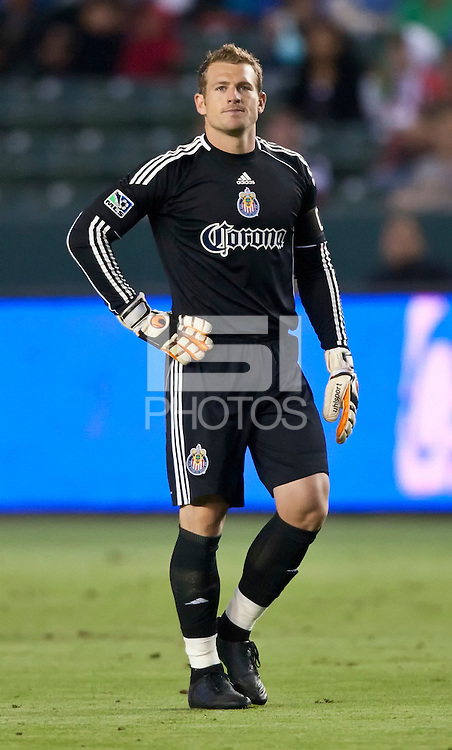 CARSON, CA – June 18, 2011: Chivas USA goalie Dan Kennedy (1) during the match between Chivas USA and FC Dallas at the Home Depot Center in Carson, California. Final score Chivas USA 1, FC Dallas 2.