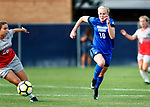 Bowen, Bizzy_BLU5405<br /> Bizzy Bowen (11) runs up the line against Ohio's Sydney Dudley. The game between BYU and Ohio State ended in a scoreless draw in double overtime at South Field Monday, August 21 <br /> <br /> <br /> August 21, 2017<br /> <br /> Photography by Gabriel Mayberry /BYU<br /> <br /> © BYU PHOTO 2017<br /> All Rights Reserved<br /> photo@byu.edu  (801)422-7322
