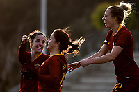 Flaminia Simonetti of AS Roma (2L) celebrates after scoring the goal of 2-1 during the Women Serie A 2018/2019 football match between AS Roma and Hellas Verona at stadio Tre Fontane, Roma, January 26, 2019 <br /> Foto Andrea Staccioli / Insidefoto