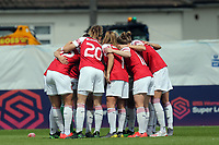 Arsenal Women huddle before Arsenal Women vs Manchester City Women, FA Women's Super League Football at Meadow Park on 11th May 2019
