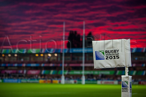 11.10.2015. Kingsholm Stadium, Gloucester, England. Rugby World Cup. USA versus Japan.  The sun sets behind Kingsholm Stadium before kickoff.