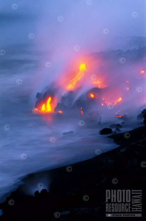 Lava enters the sea, Big Island