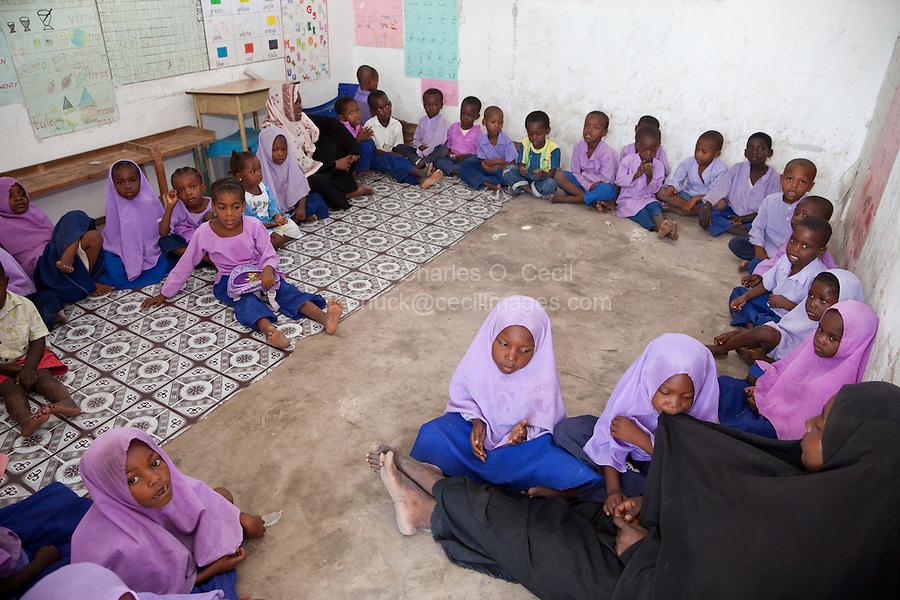 Jambiani, Zanzibar, Tanzania.  Primary School Classroom and Schoolchildren.