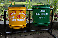 Jatiluwih, Bali, Indonesia.  Trash Cans for Separating Organic and Non-organic Waste.