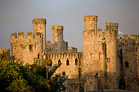 Early morning light on Conway Castle walls, North Wales